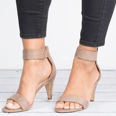Women's Fabric Cone Heel Sandals Pumps Peep Toe Heels With Zipper shoes