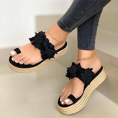 Femmes Similicuir Talon plat Sandales Chaussures plates Chaussons Anneau d'orteil avec Une fleur chaussures