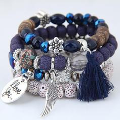 Wings Shaped Alloy Beads Unisex Fashion Bracelets (Set of 4)
