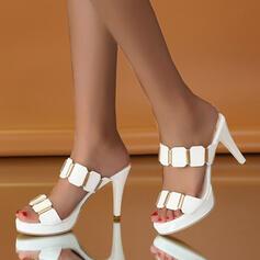 Femmes PU Talon stiletto Escarpins À bout ouvert Chaussons Talons avec Strass chaussures