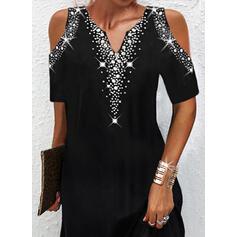 Print Short Sleeves Cold Shoulder Sleeve Shift Above Knee Elegant Dresses