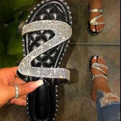 Femmes PU Talon plat Sandales Chaussures plates À bout ouvert Chaussons bout rond avec Strass Pailletes scintillantes chaussures