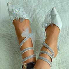 Femmes Tissu Talon kitten Escarpins Bout fermé Talons Bout pointu avec Strass Motif appliqué chaussures