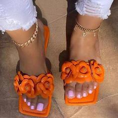 Femmes PU Talon plat Sandales Chaussures plates À bout ouvert Chaussons bout rond avec Bowknot Pailletes scintillantes Couleur unie chaussures
