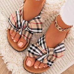 Femmes Tissu Talon plat Sandales Chaussures plates À bout ouvert Chaussons bout rond avec Bowknot Couleur d'épissure Rayé chaussures