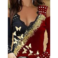 Print Color Block Butterfly Lace Cold Shoulder Long Sleeves Cold Shoulder Sleeve Elegant Blouses