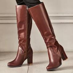 Femmes PU Talon bottier Bottes Bottes hautes Talons bout rond avec Zip Couleur unie chaussures
