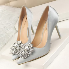 Women's Satin Stiletto Heel Pumps Pointed Toe With Rhinestone shoes
