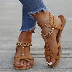 Femmes PU Talon plat Sandales Chaussures plates À bout ouvert avec Boucle Ouvertes chaussures