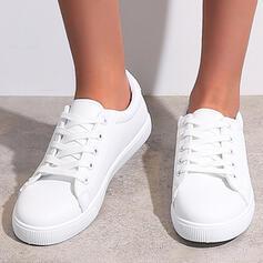 Femmes PU Talon plat Chaussures plates Espadrille Tennis avec Dentelle Couleur unie chaussures