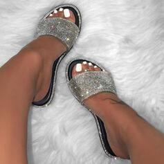 Femmes PU Talon plat Sandales Chaussures plates À bout ouvert Chaussons avec Pailletes scintillantes Couleur d'épissure chaussures