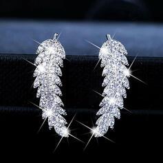 Charme Jolie Artistique Romantique Alliage avec Strass Feuille Femmes Boucles d'oreilles