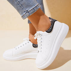 Women's PU Flat Heel Flats Low Top Round Toe With Rhinestone shoes