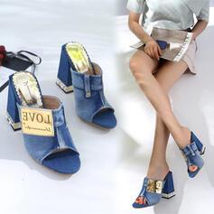 Women's Denim Chunky Heel Sandals Pumps Peep Toe Slippers Heels With Imitation Pearl Jewelry Heel Patchwork shoes