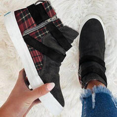 Women's Denim Flat Heel Boots Ankle Boots Low Top Round Toe With Zipper Splice Color shoes