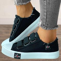Femmes Toile Talon plat Chaussures plates Low Top bout rond Espadrille avec Bandage Couleur unie chaussures