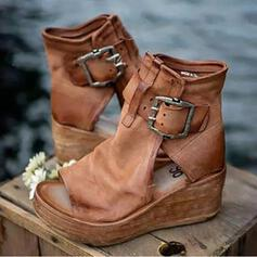 Women's Leatherette Wedge Heel Sandals With Buckle Hollow-out shoes