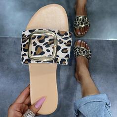 Femmes PU Talon plat Sandales Chaussures plates À bout ouvert Chaussons avec La copie Animale chaussures