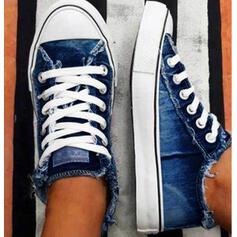 Femmes Toile Talon plat Chaussures plates Low Top Espadrille Tennis avec Dentelle chaussures
