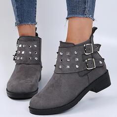 Femmes Suède Talon bottier Bottes Bottines Low Top bout rond avec Rivet Boucle Couleur unie chaussures