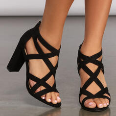 Women's Leatherette Chunky Heel Sandals Pumps Peep Toe With Zipper Hollow-out Solid Color shoes