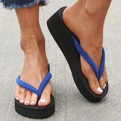 Femmes PVC Talon compensé Sandales Compensée Tongs Chaussons Talons avec Couleur d'épissure chaussures