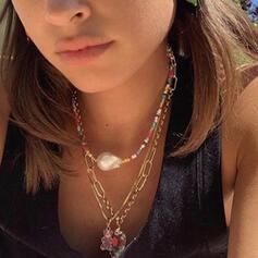 Jolis Croix Fantaisie Délicat Boucle simple Ajustable Natural Stone Alliage Pearl Perles de verre Femmes Dames Colliers Collier tour de cou 2 PCS