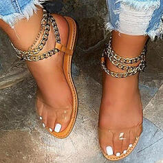 Femmes PU Talon plat Sandales Compensée À bout ouvert Talons bout rond avec Chaîne Couleur unie chaussures