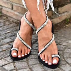 Femmes PU Talon plat Sandales Chaussures plates À bout ouvert Chaussons Anneau d'orteil avec Strass Ouvertes chaussures