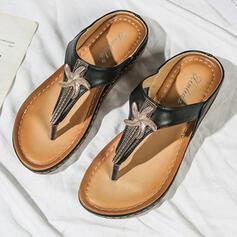 Femmes Cuir en microfibre Talon plat Sandales Chaussures plates À bout ouvert Tongs Chaussons avec Brodé chaussures