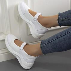 Femmes Mesh Talon plat Chaussures plates Mary Jane bout rond avec Velcro Couleur unie chaussures