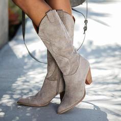 Femmes Suède Talon cône Bottes mi-mollets Bottes d'hiver avec Zip Couleur unie chaussures