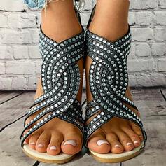 Femmes PU Talon bas Sandales Chaussures plates À bout ouvert Haut haut avec Strass Ouvertes chaussures
