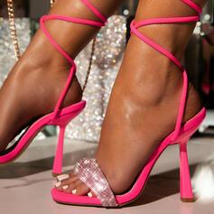 Femmes Microfibre Talon stiletto Sandales Escarpins À bout ouvert avec Pailletes scintillantes Dentelle chaussures
