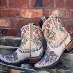 Women's Microfiber Chunky Heel Mid-Calf Boots Pointed Toe With Flower Embroidery shoes
