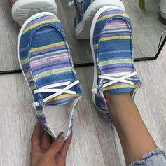 Femmes Tissu Talon plat Chaussures plates Low Top bout rond Glisser sur avec Dentelle Couleur d'épissure chaussures