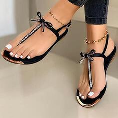 Femmes PU Talon plat Sandales Chaussures plates À bout ouvert Tongs avec Bowknot chaussures