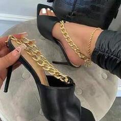 Femmes PU Talon stiletto Sandales Escarpins À bout ouvert avec Chaîne Couleur unie chaussures
