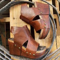 Femmes Cuir verni Talon compensé Sandales Compensée À bout ouvert Talons bout rond avec Ouvertes Couleur unie chaussures