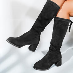 Women's Suede Chunky Heel Mid-Calf Boots Pointed Toe With Solid Color shoes