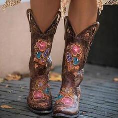 Femmes PU Talon bottier Bottes mi-mollets Bottes cavalières Bout pointu avec Fleurie Broderie chaussures