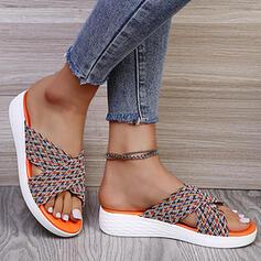 Femmes Suède Talon compensé Sandales Chaussures plates Compensée À bout ouvert Chaussons avec Entrecroisement Imprimé fleur chaussures