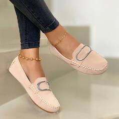 Femmes PU Talon plat Chaussures plates bout rond Flâneurs Glisser sur avec Couleur unie chaussures