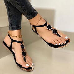Femmes PU Talon plat Sandales Chaussures plates Tongs chaussures