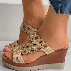 Femmes PU Talon compensé Sandales Plateforme Compensée À bout ouvert Chaussons avec Strass Ouvertes chaussures