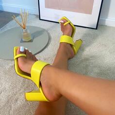 Femmes Similicuir Talon bottier Sandales Escarpins À bout ouvert Chaussons Anneau d'orteil Bout carré avec Couleur unie chaussures