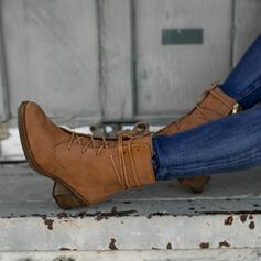Femmes PU Talon bottier Bottines Martin bottes bout rond avec Zip Dentelle chaussures