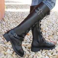 Femmes PU Talon bottier Bottes mi-mollets bout rond avec Boucle Dentelle Couleur unie chaussures