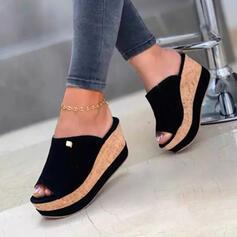 Femmes Treillis Talon compensé Sandales Compensée À bout ouvert Chaussons Talons avec Couleur unie chaussures