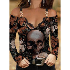 Print Skull head Cold Shoulder Long Sleeves T-shirts
